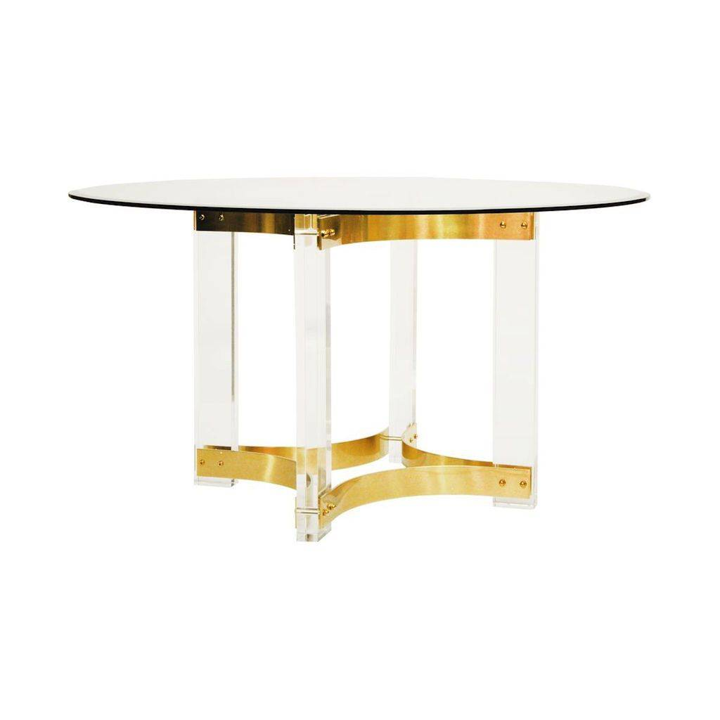 Worlds Away Hendrix Acrylic & Antique Brass Dining Table
