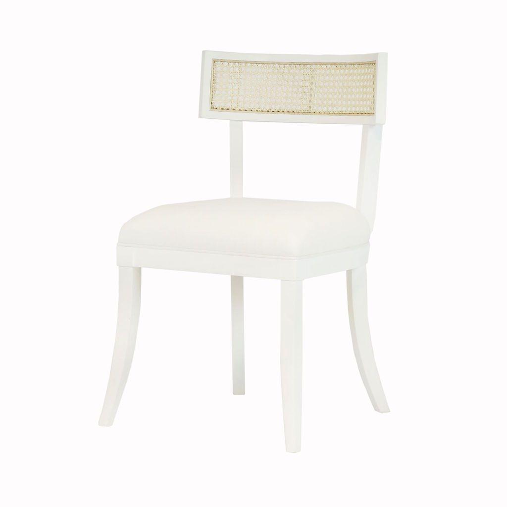 Worlds Away Britta White Klismos Dining Chair with Cane Detail