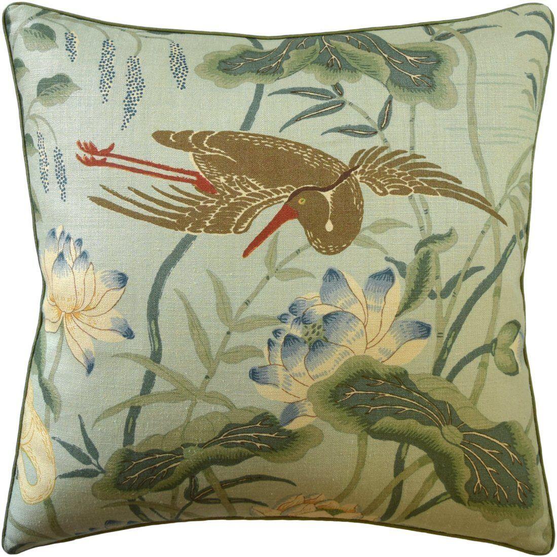Ryan Studio Lotus Garden Aqua Pillow