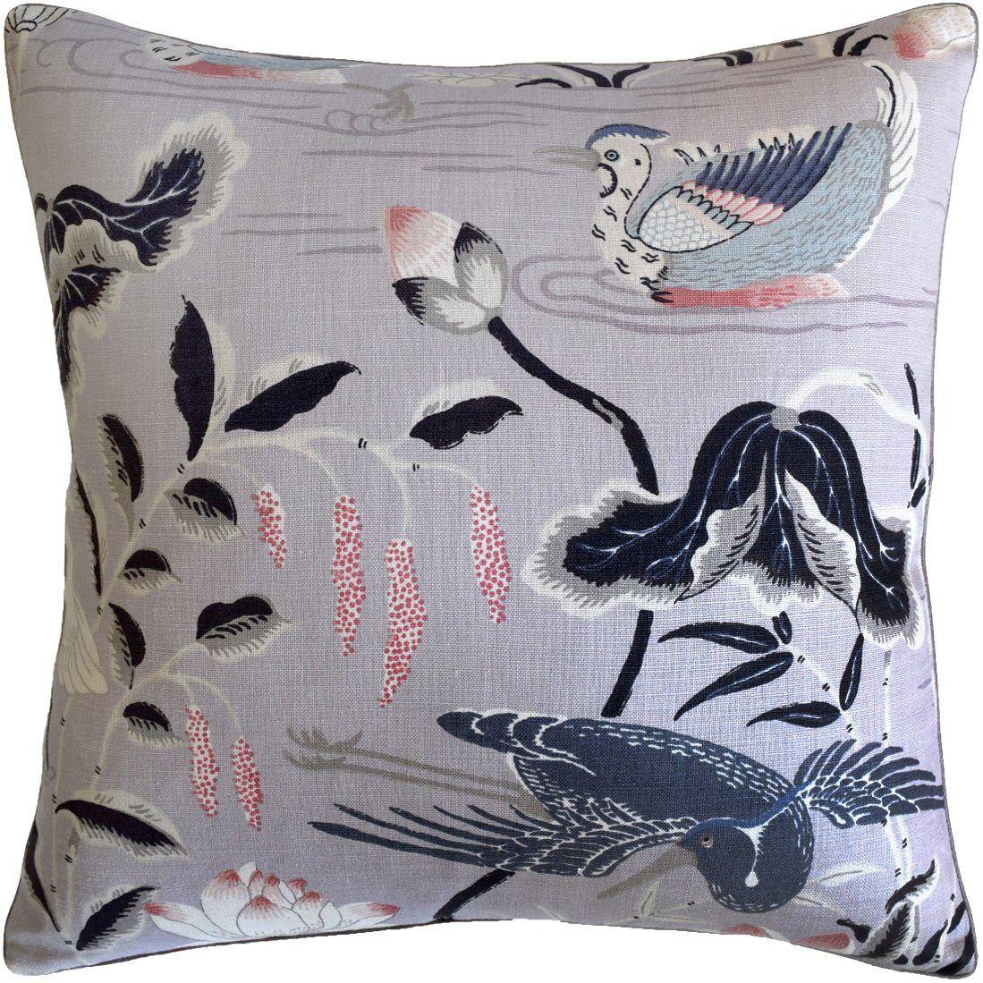 Ryan Studio Lotus Garden Lilac Pillow