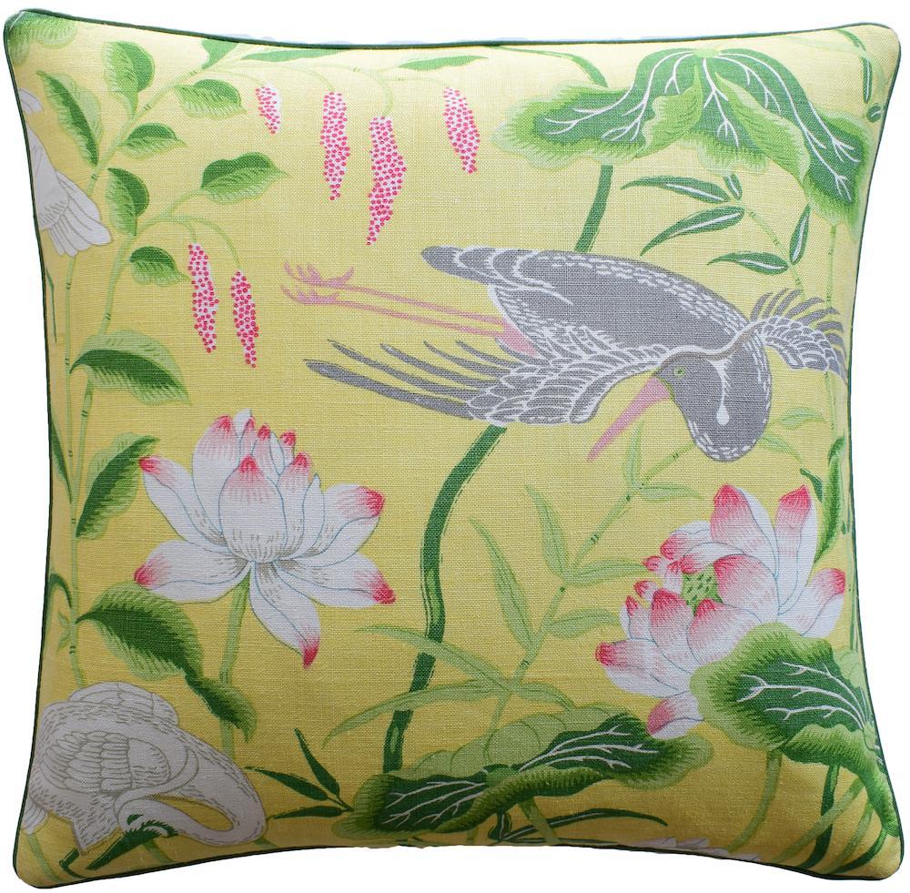 Ryan Studio Lotus Garden Yellow Pillow