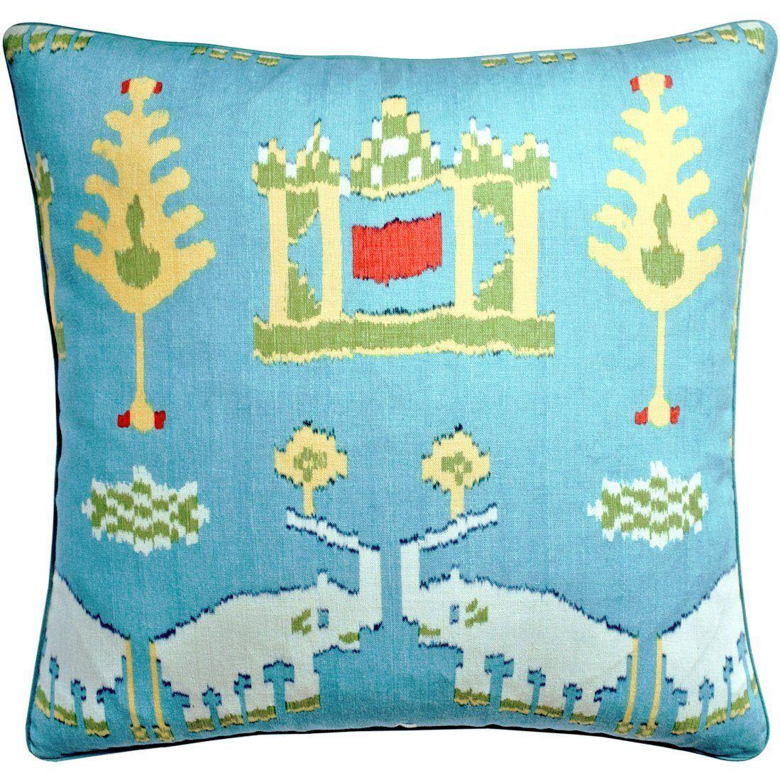 Ryan Studio Kingdom Parade Turquoise Decorative Pillow