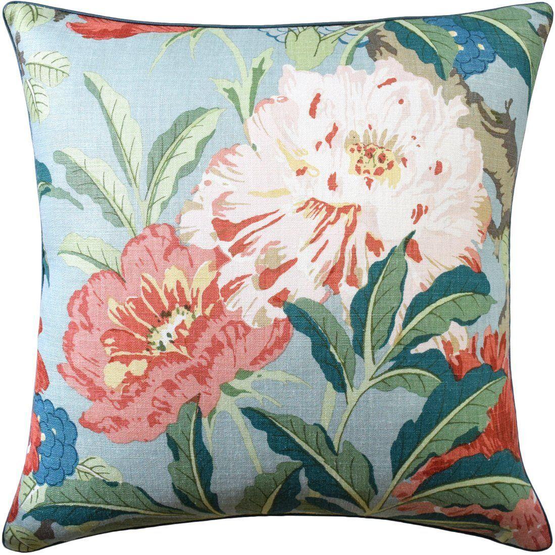 Ryan Studio Enchanted Garden Aqua Pillow by Ryan Studio