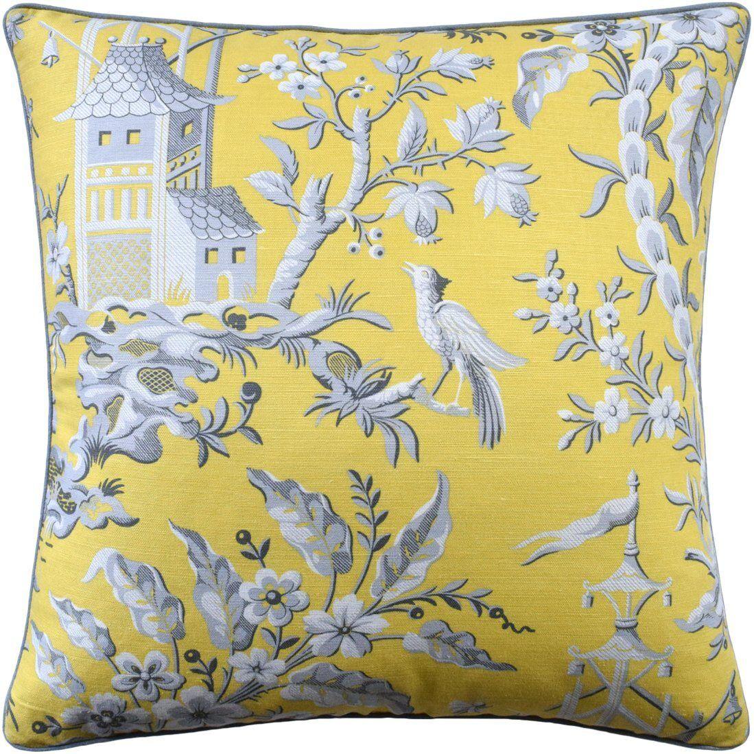 Ryan Studio Pagoda Garden Yellow Pillow