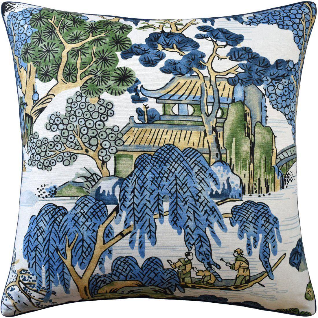 Ryan Studio Asian Scenic Blue and Green Pillow