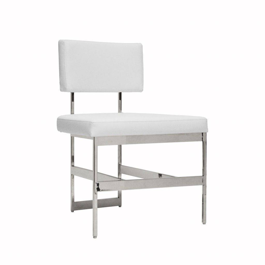 Worlds Away Shaw White Vinyl & Nickel Dining Chair
