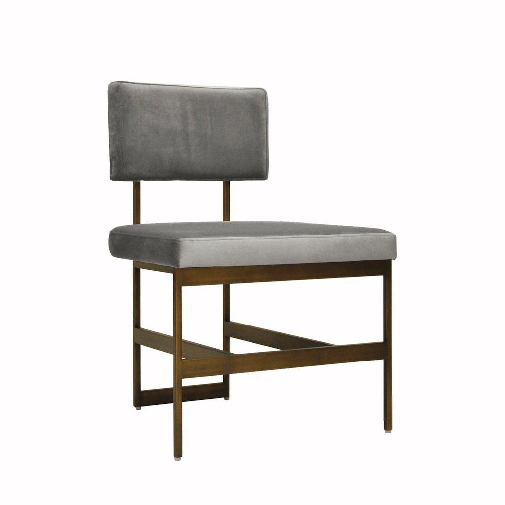 Worlds Away Shaw Grey Velvet & Bronze Dining Chair