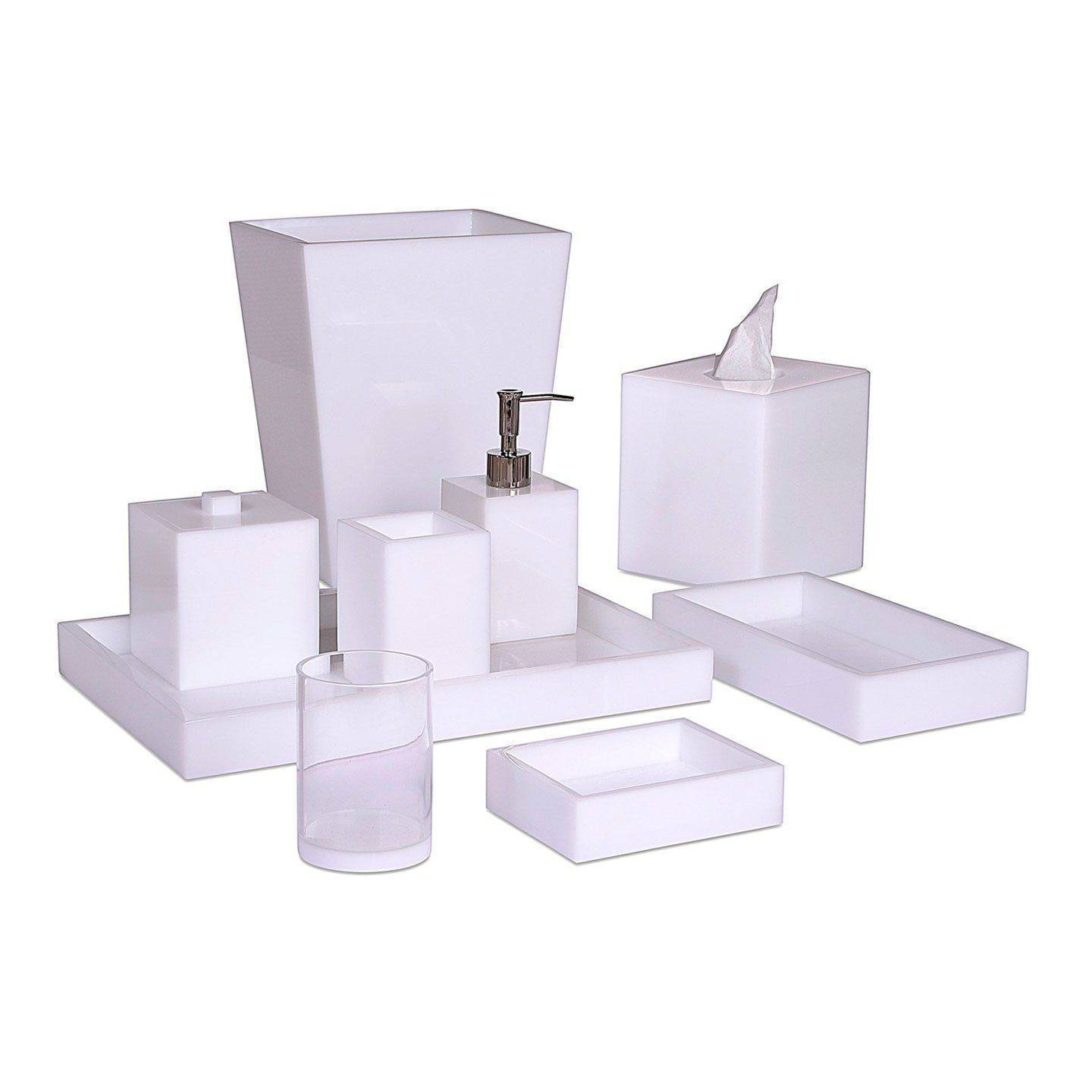 Mike + Ally Ice White Lucite Bath Accessories by Mike + Ally