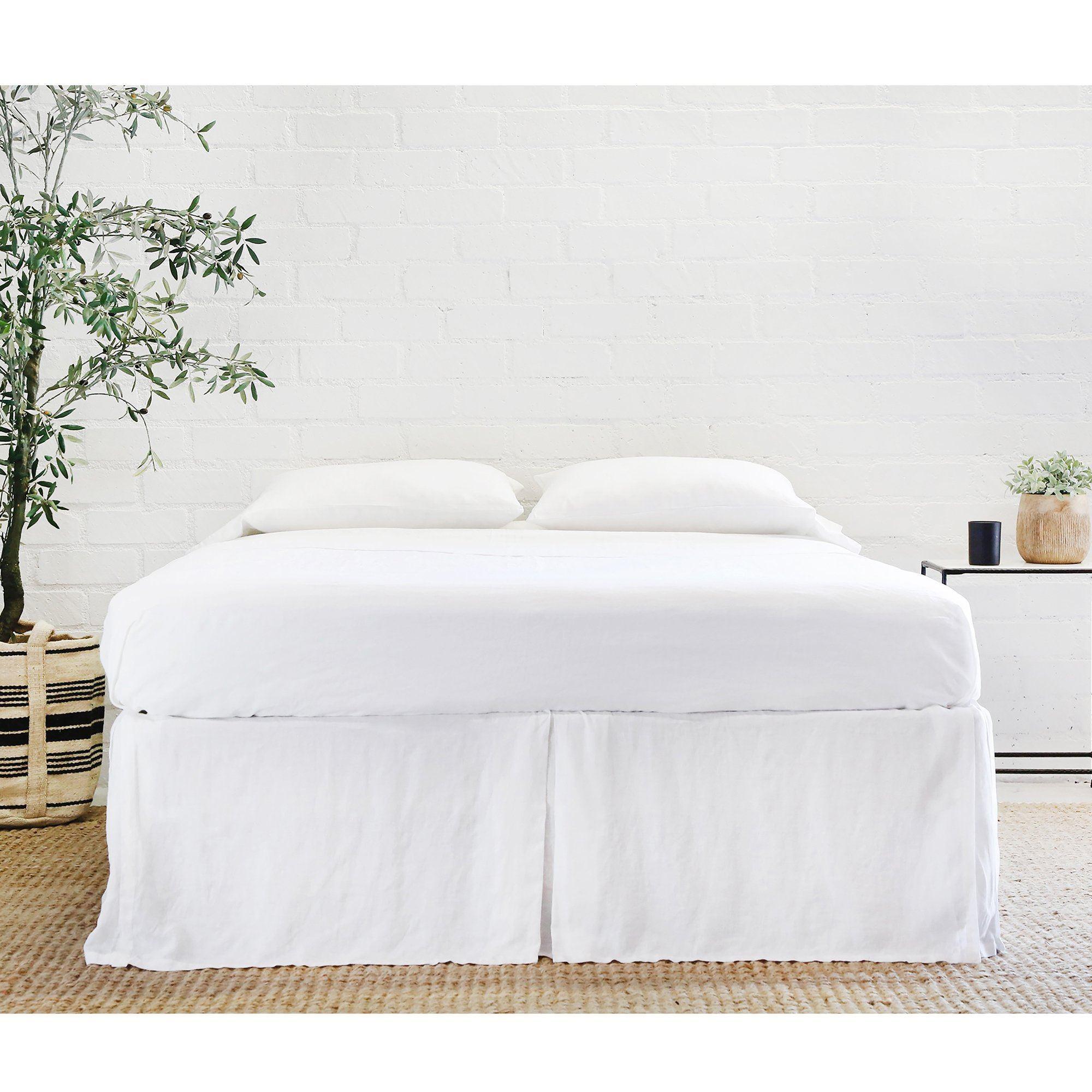 Pom Pom at Home White Linen Pleated Bedskirt