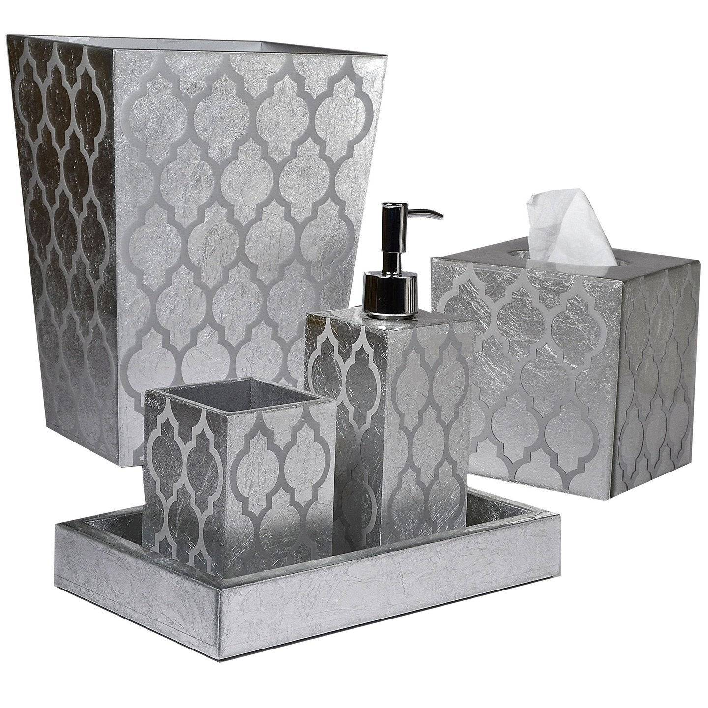 Mike + Ally Arabesque Silver Bath Accessories by Mike + Ally