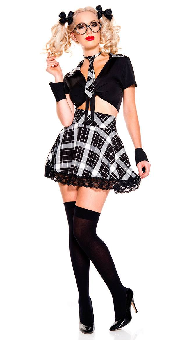 Music Legs Detention Hottie Costume by Music Legs, Black, Size M/L / Sexy Detention Hottie Costume, School Girl Costume, Sexy School Girl Costume, Student