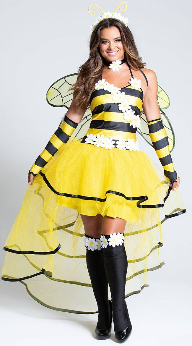 Music Legs Deluxe Queen Bee Costume by Music Legs, Yellow/Black, Size XL / Sexy Deluxe Queen Bee Costume, Queen Bee Costume, Sexy Queen Bee Costume, Bee