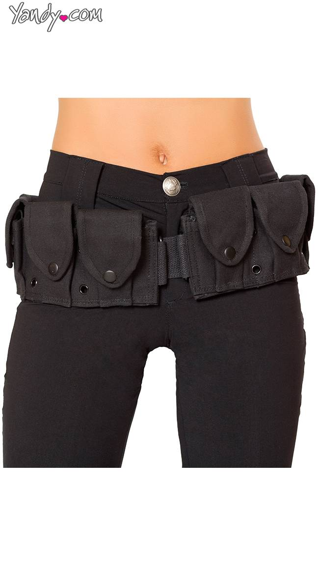 Roma Black Costume Belt With Pouches by Roma / Costume Belt Accessory, Belt With Multiple Pouches - Yandy.com
