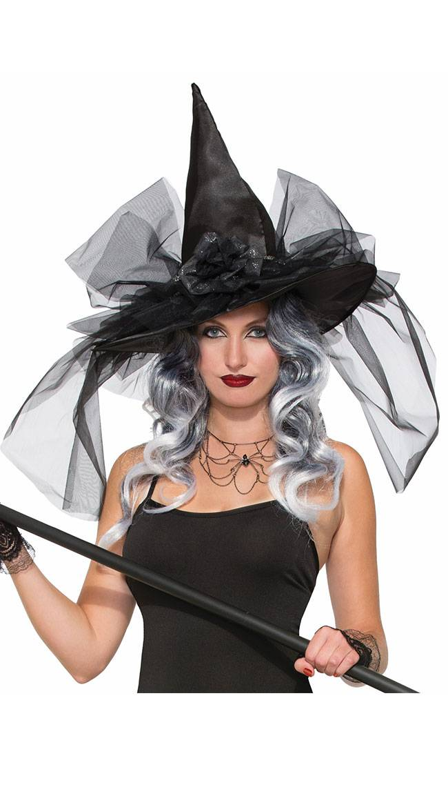 Forum Novelties Tulle Witch Hat by Forum Novelties / Floral Witch Hat, Black Witch Hat - Yandy.com