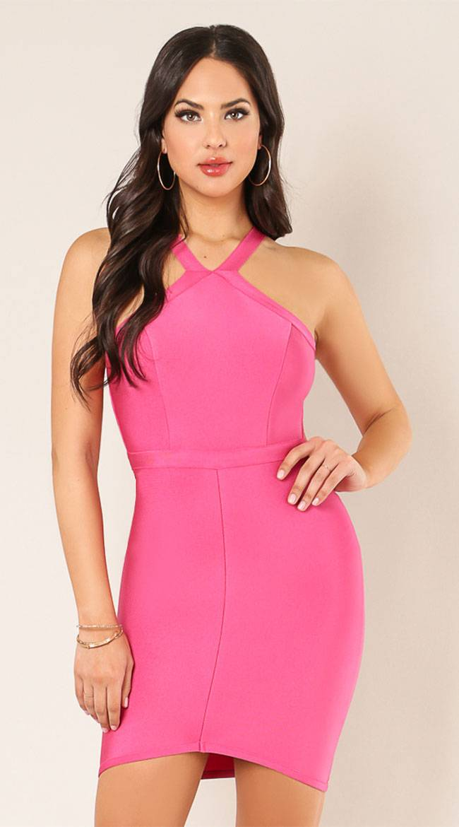 Wow Toys Electric Connection Bandage Dress by WOW KNIT, INC., Rosa, Size S - Yandy.com
