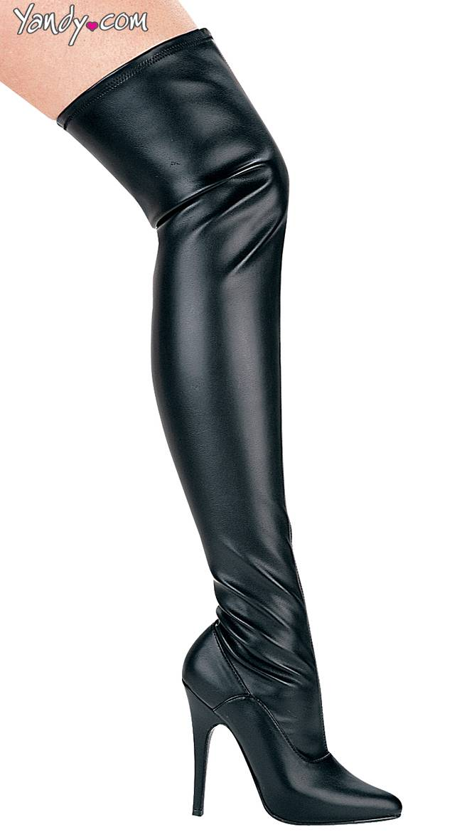 Ellie Shoes Killer Instinct Wet Look Stretch Boot by Ellie Shoes, Black, Size 7 / Thigh High Boots Cheap, Black Leather Thigh High Boots - Yandy.com