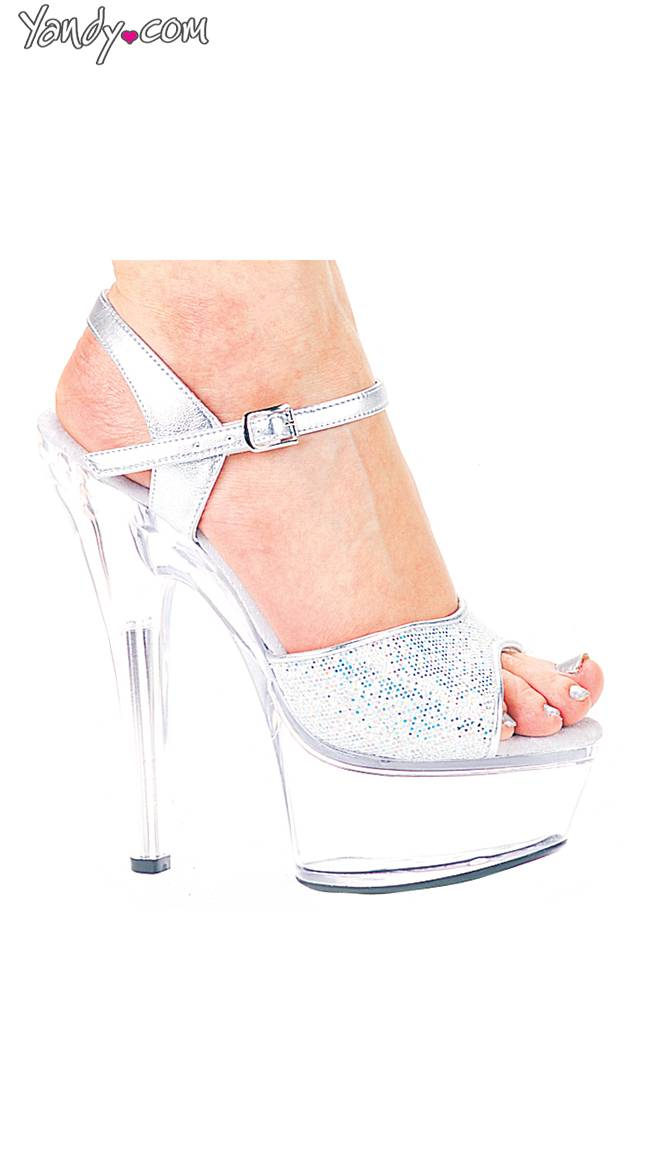 Ellie Shoes Glitter Showgirl Strappy High Heel Sandal by Ellie Shoes, Silver Glitter, Size 6 / Sexy Platform Shoes, Silver Glitter Shoes - Yandy.com