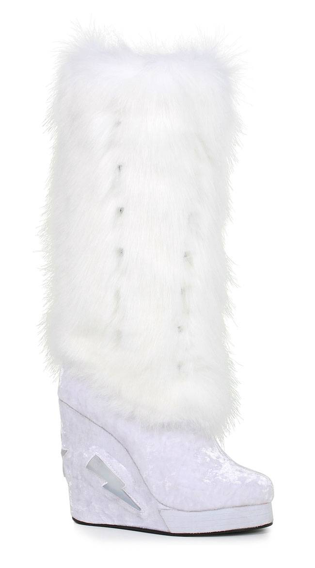 Ellie Shoes Eskimo Sisters Platform Furry Boot by Ellie Shoes, White, Size 8 - Yandy.com
