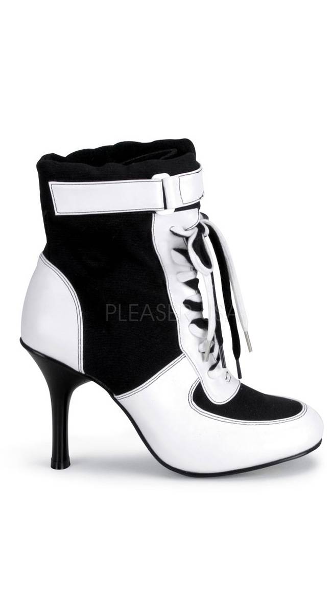 Pleaser 3 3/4 Inch Referee Sport Boot by Pleaser, Black Canvas-white PU, Size 6 - Yandy.com