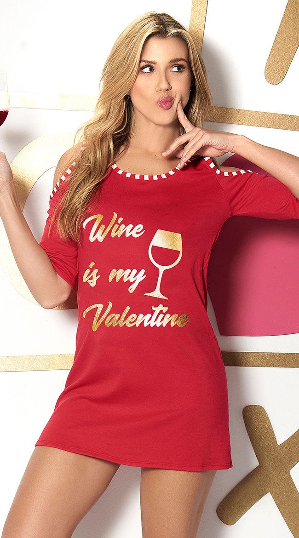 Mapale Wine Is My Valetine Sleep Shirt by Mapale, Red, Size S - Yandy.com