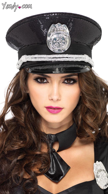 Leg Avenue Sequin Cop Hat by Leg Avenue, Black / Sequin Accessory, Cop Hat, Officer Hat, Police Officer Costume Accessories, Cop Costume Accessories - Yandy.com