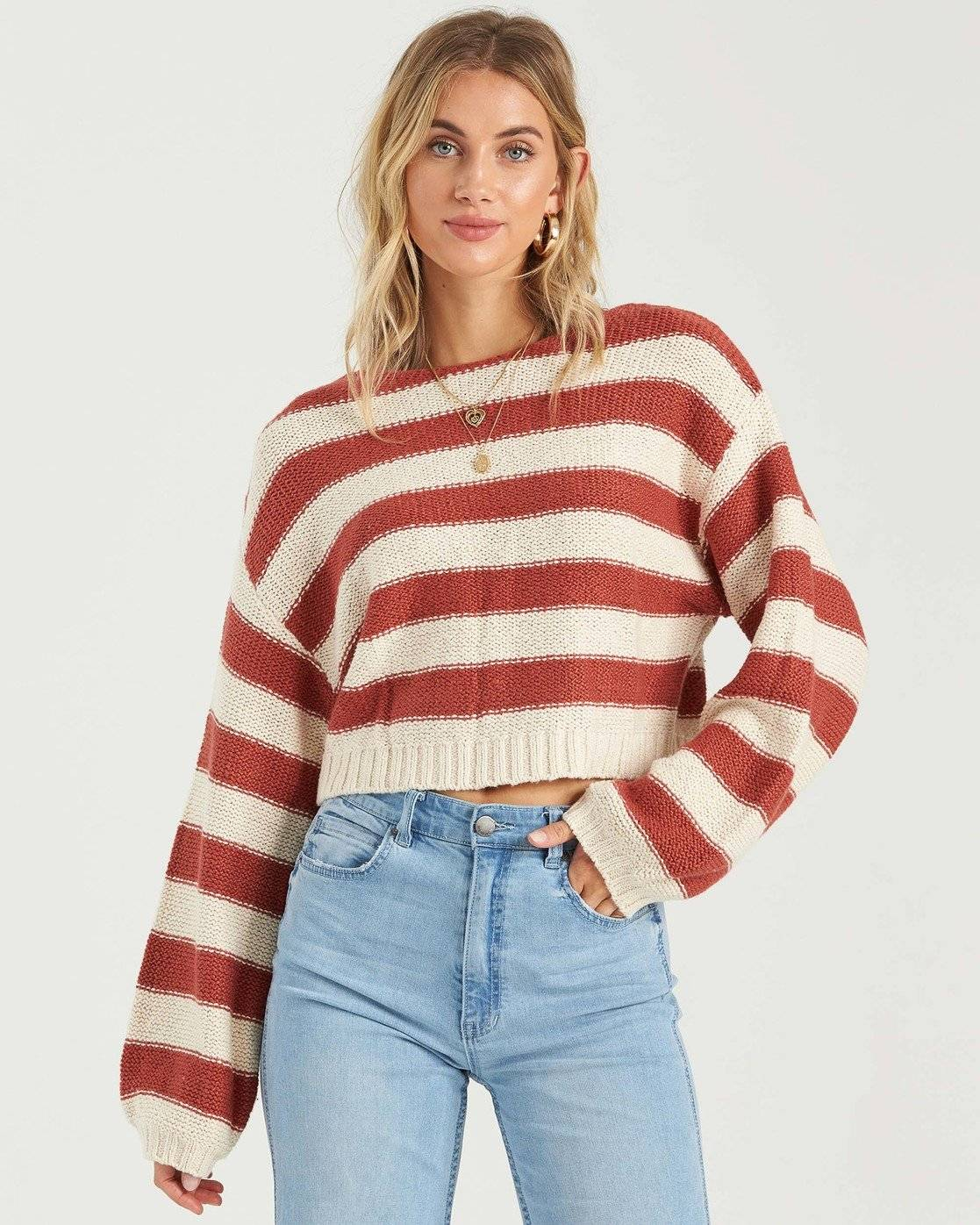 Billabong Seeing Stripes Sweater  - Red - Size: Large