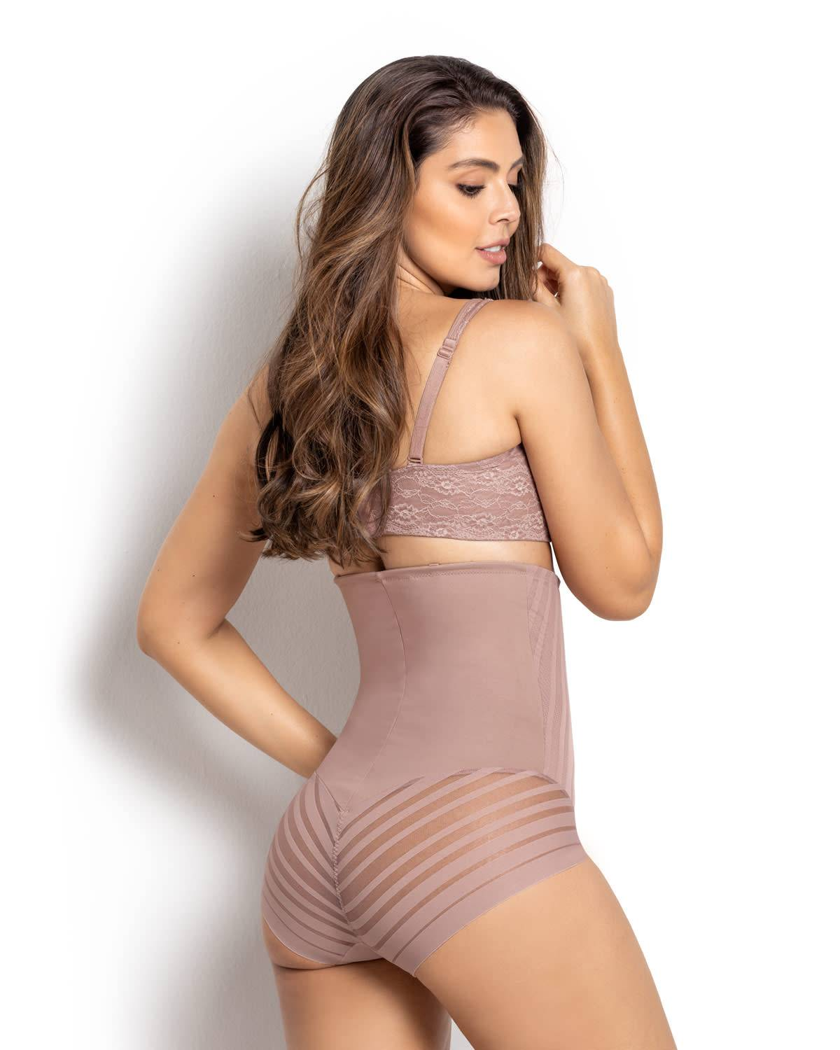 Leonisa Lace Stripe Extra High-Waisted Sculpting Shaper Panty