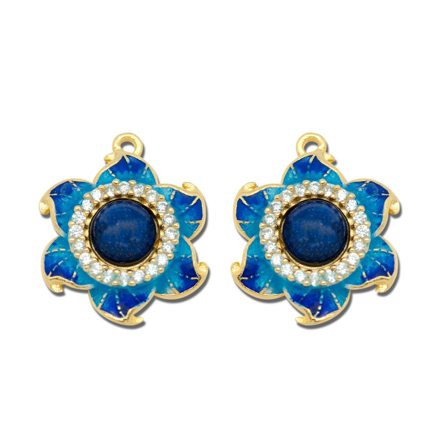 silverbene Handmade Enamel Natural Blue Lapis/Red Agate 925 Sterling Silver Studs Earrings