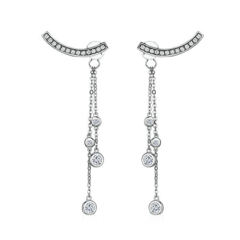 silverbene Sweet Round CZ Tassel 925 Silver Dangling Earrings