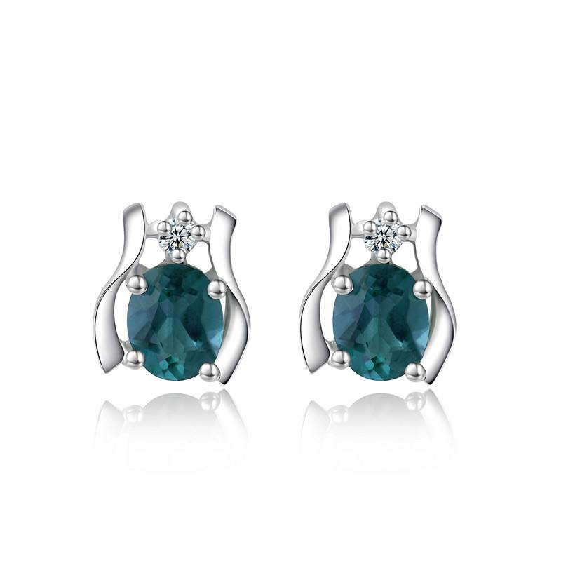 silverbene Blue Natural Sapphire Secret Garden Gift 925 Sterling Silver Studs Earrings