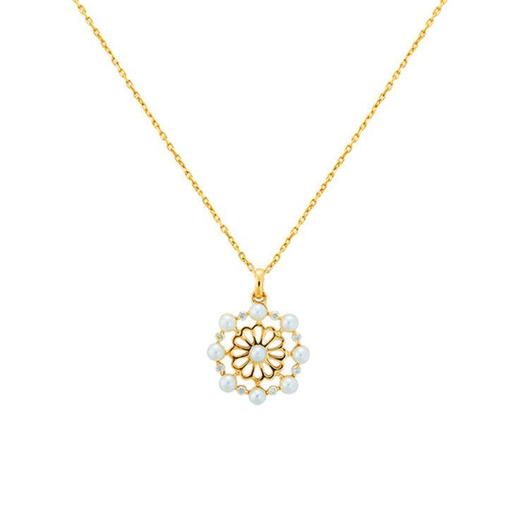 silverbene Natural Luxury Round White Pearl 925 Sterling Silver Golden Garden Necklace