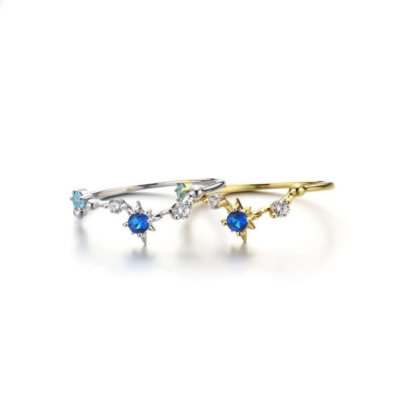 silverbene Beautiful CZ Big Dipper Stars 925 Sterling Silver Ring