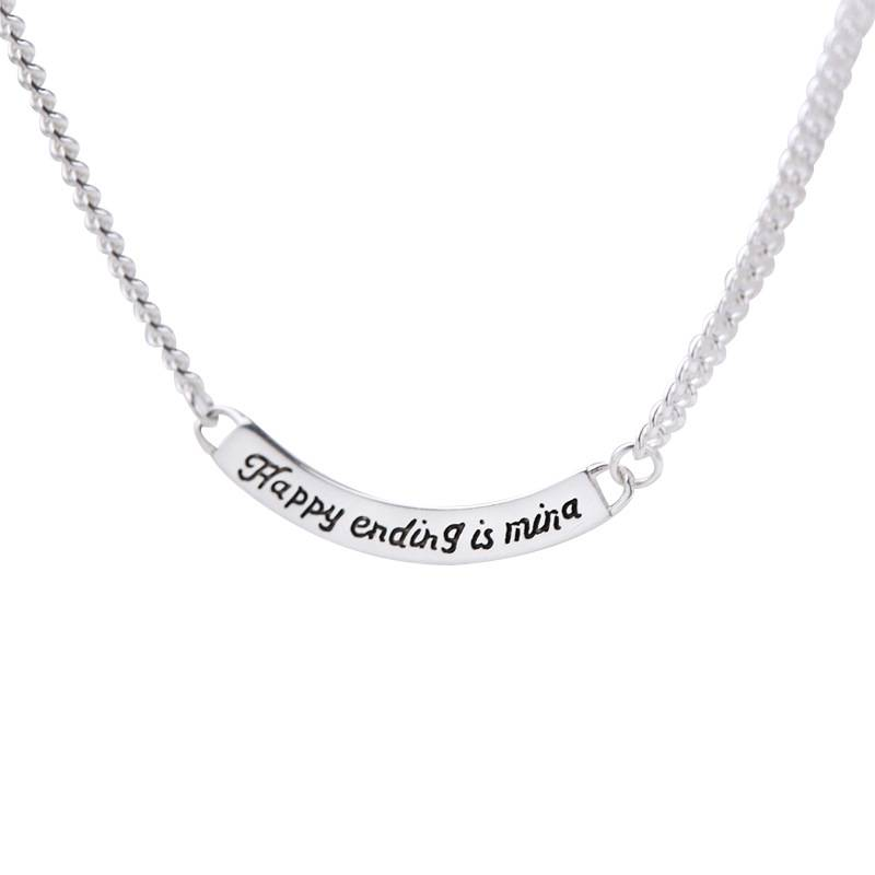 silverbene Classic Happing Ending Is Mina Letter 925 Sterling Silver Necklace