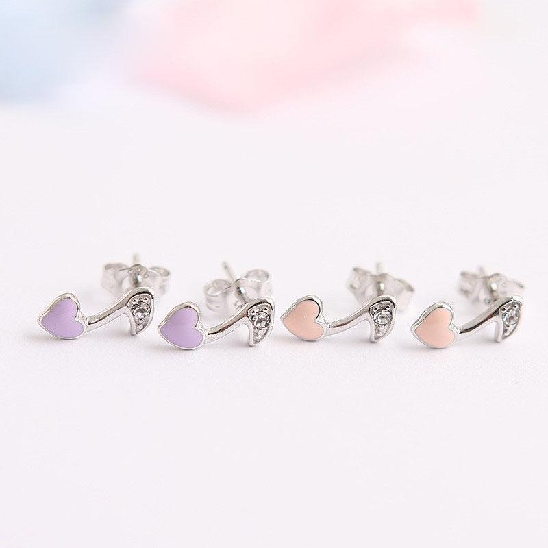 silverbene Pink/Purple Enamel CZ Heart Music Note 925 Silver Studs Earrings