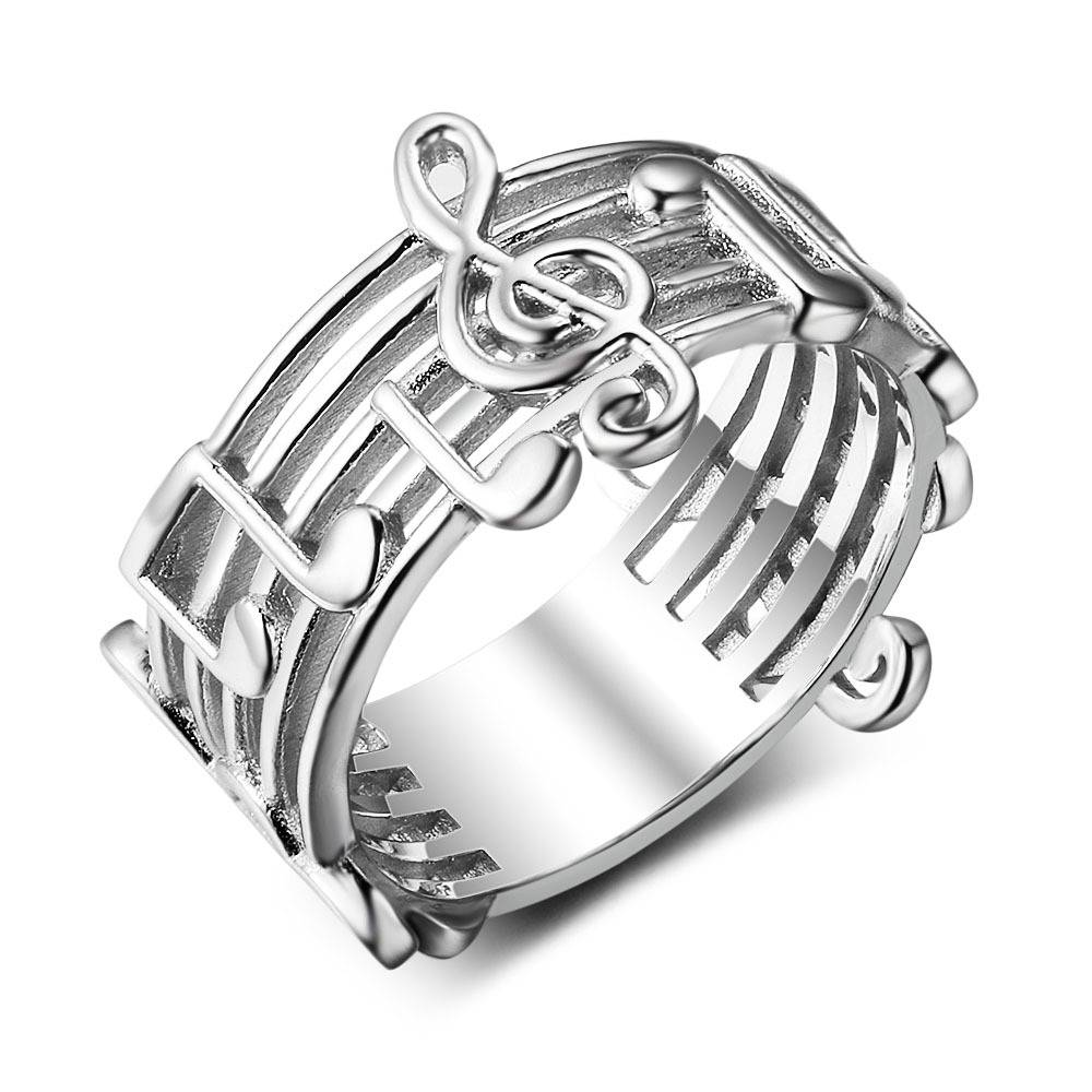 silverbene Fashion Music Note G Clef 925 Sterling Silver Ring