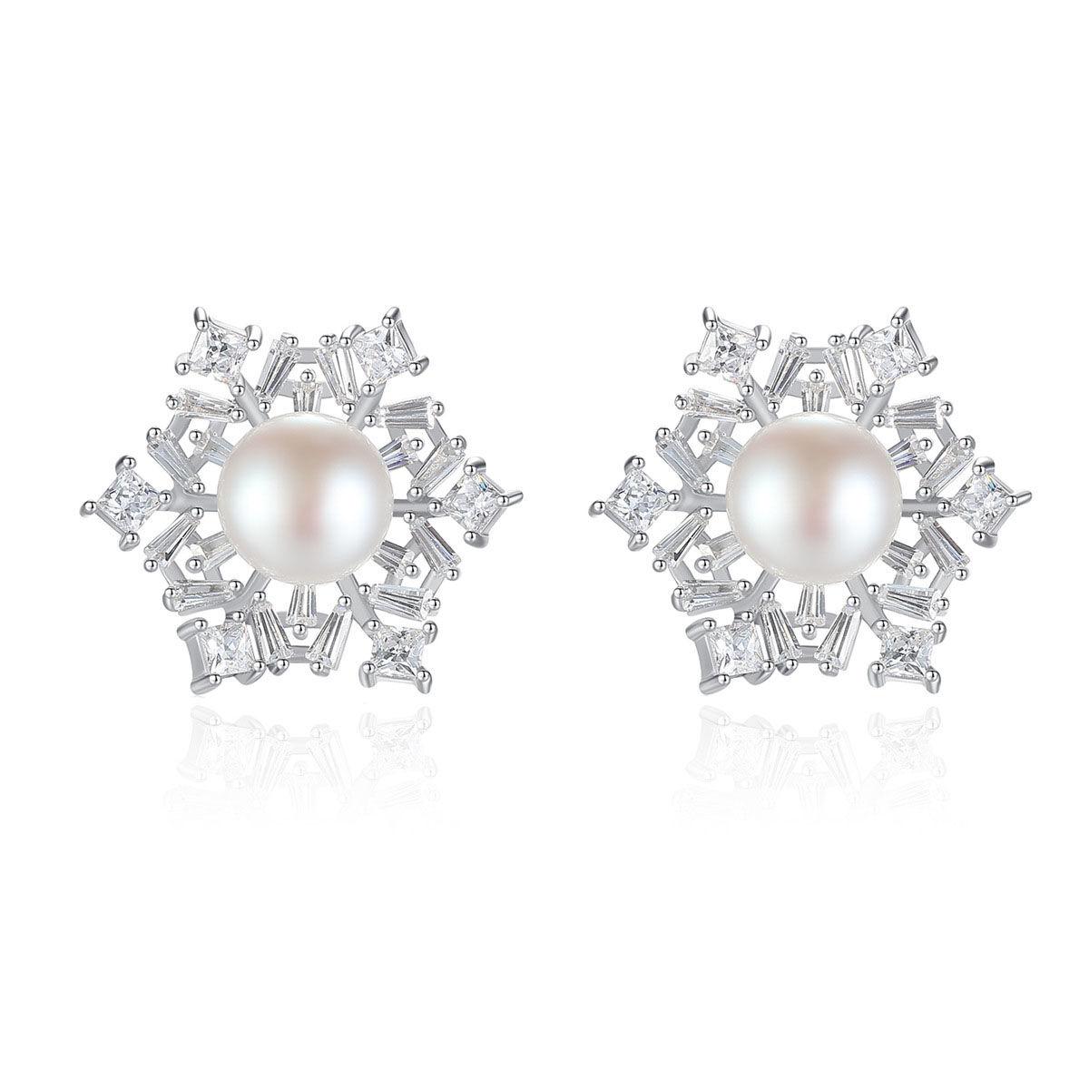 silverbene Lady Natural Pearl CZ Snowflake 925 Silver Studs Earrings