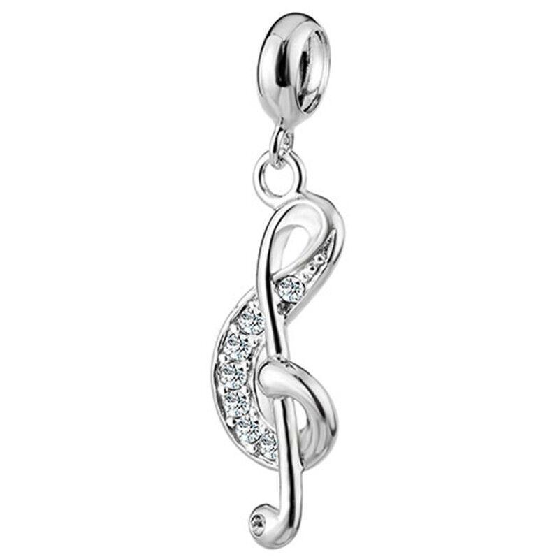 silverbene Sale Enamel CZ Music Note 925 Silver Pendant