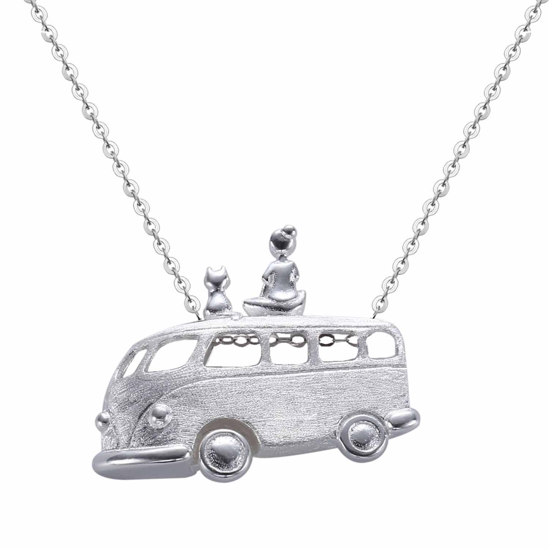 silverbene Gift Van Car Girl Cat 925 Sterling Silver Pendant