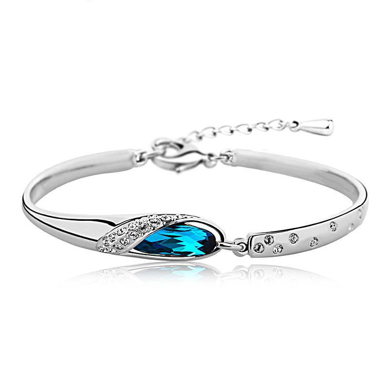 silverbene Trendy Fashion Ocean Blue Cubic Zirconia Solid 925 Sterling Silver Bracelet