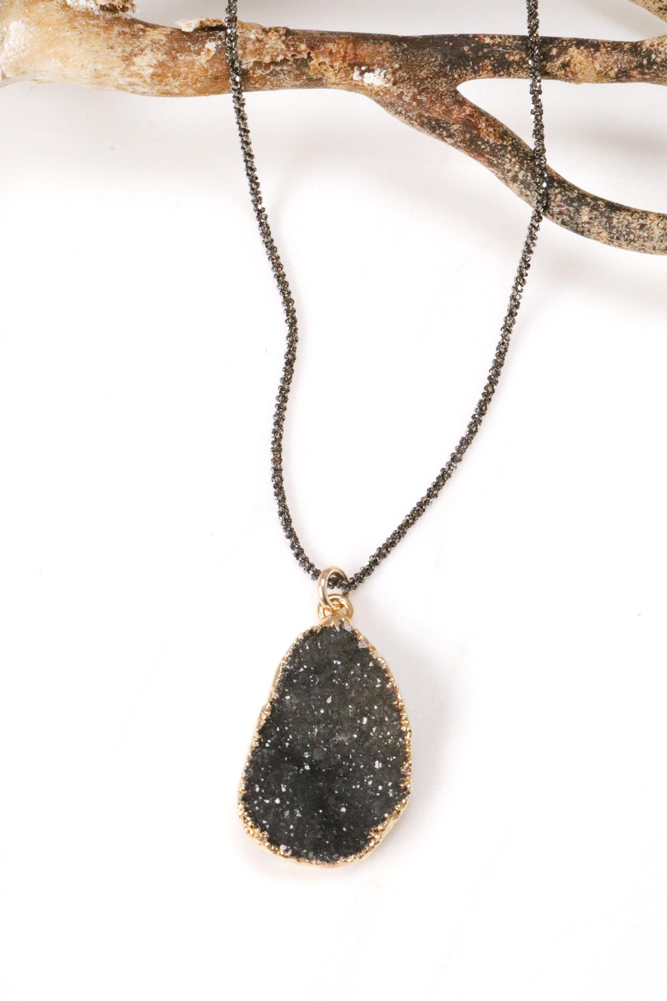 Mickey Lynn Jewelry Petite Druzy & Gunmetal Necklace