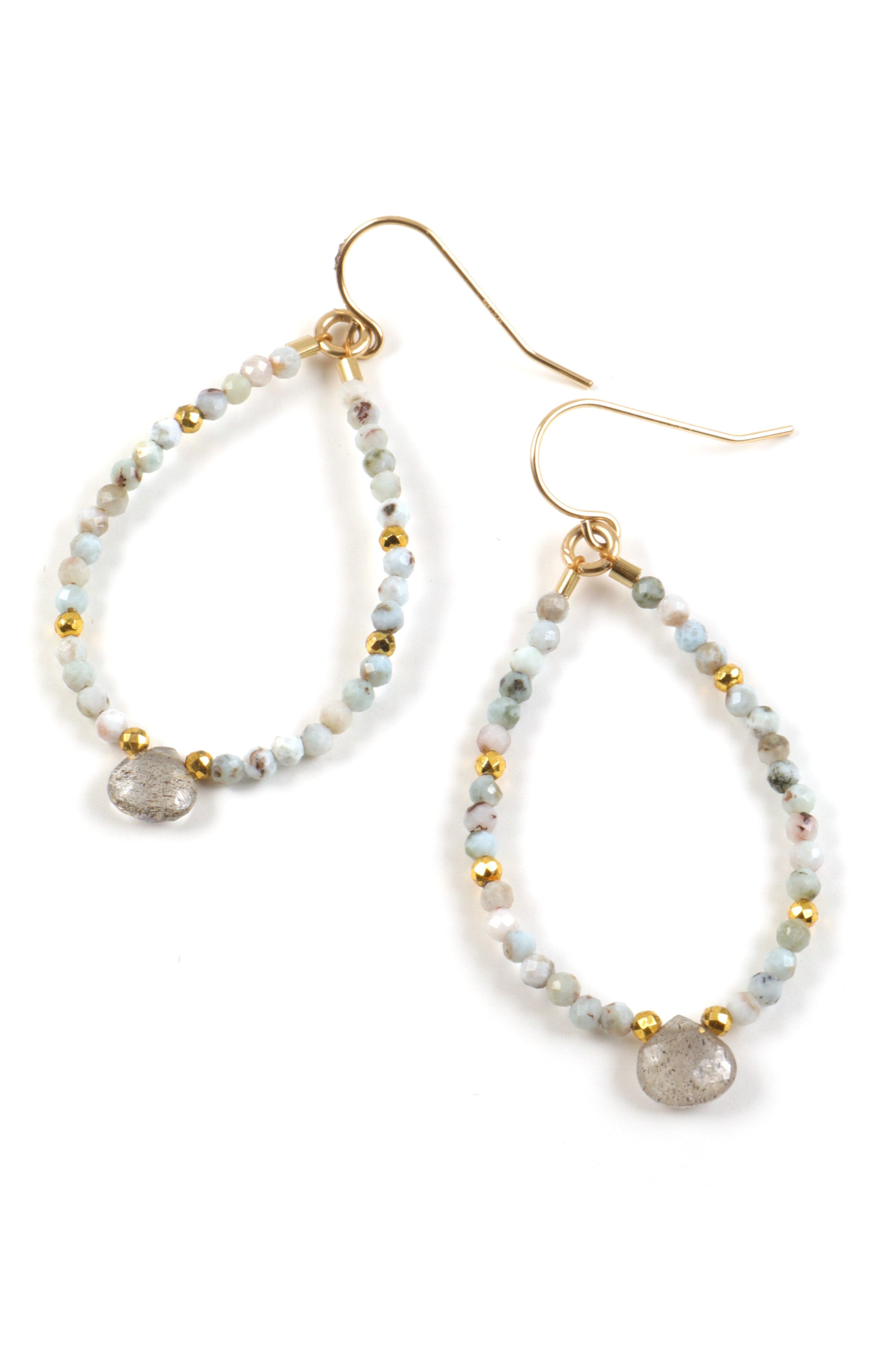 Mickey Lynn Jewelry Petite Larimar and Labradorite Beaded Hoops