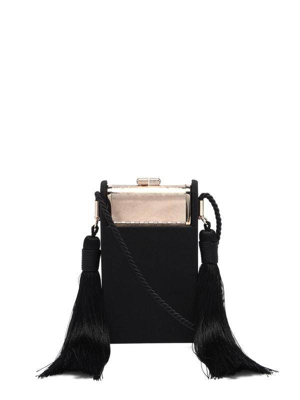 Bienen Davis Women's Palladium Satin Black Crossbody Mini Bag in Black/Gold