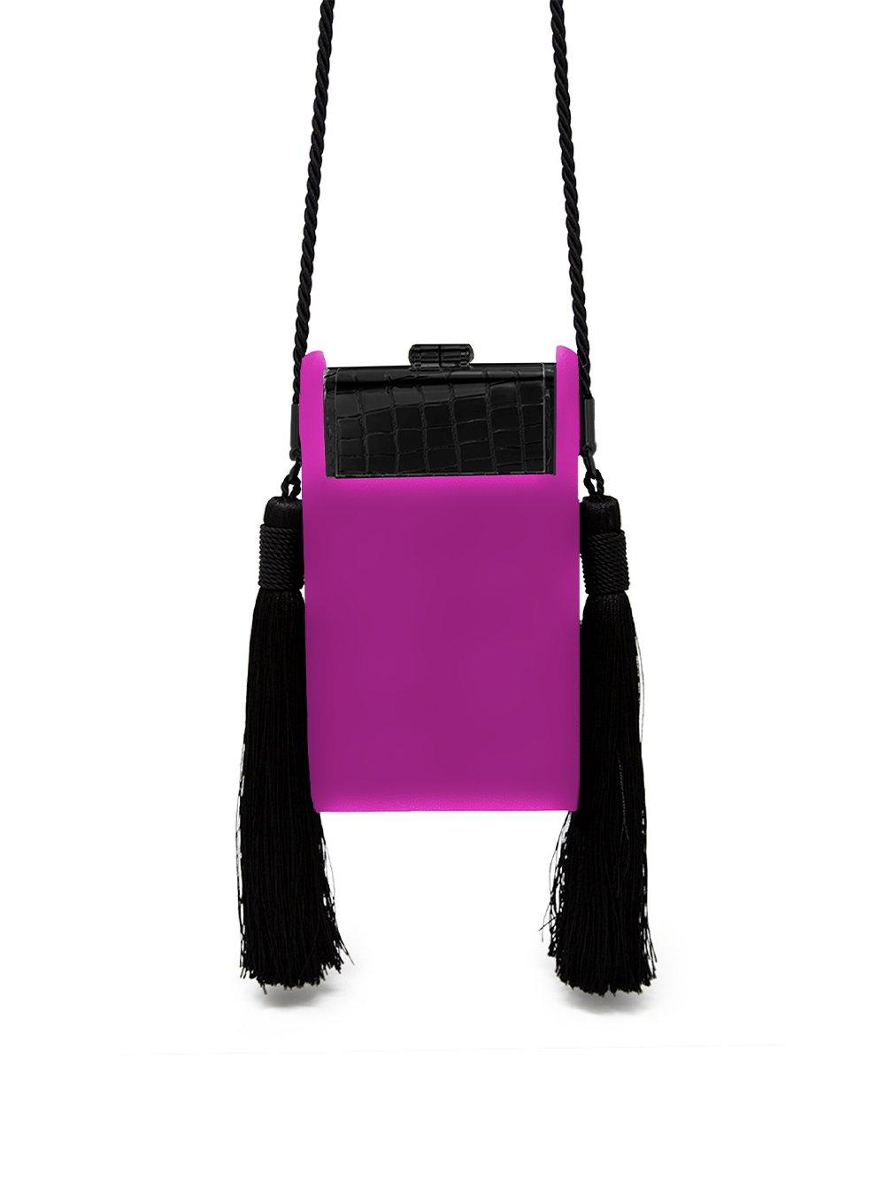Bienen Davis Women's Crossbody Palladium Small Satin Gunmetal Phone Bag in Fuchsia