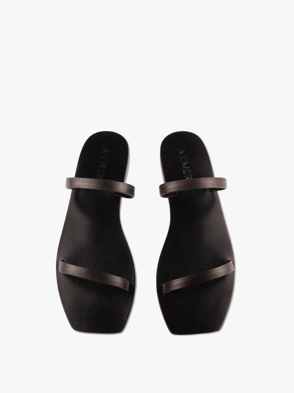 A.Emery Women's Lola Double Strap Leather Slide Shoes in Black size 39.0I