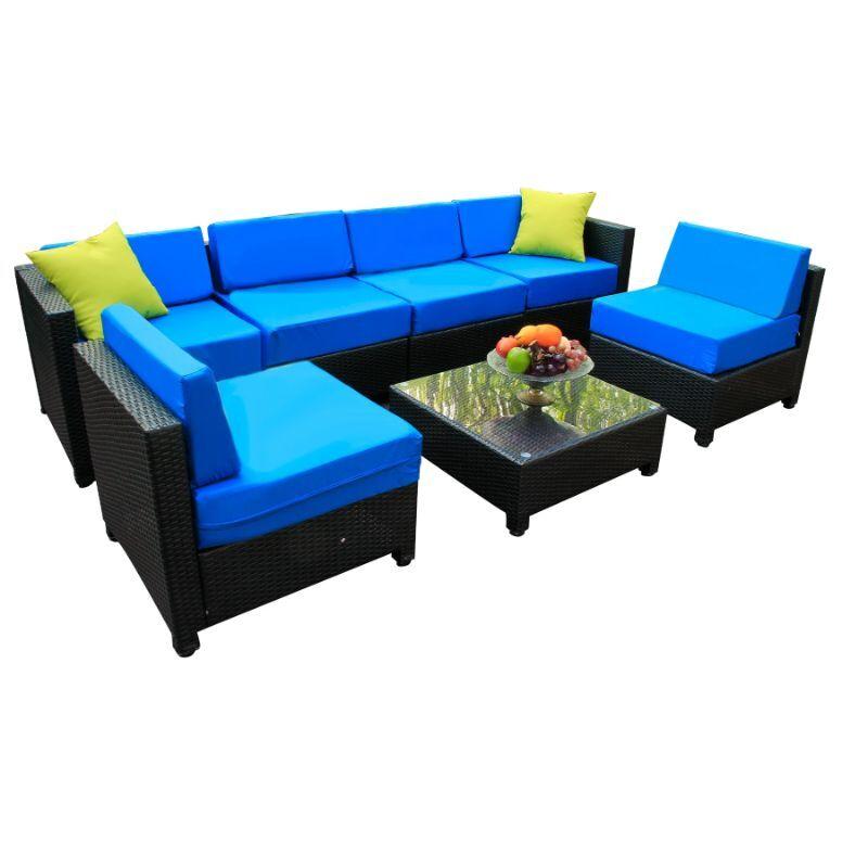 Generic Deluxe Outdoor Garden Rattan Wicker Patio Furniture Sectional - 7 Piece