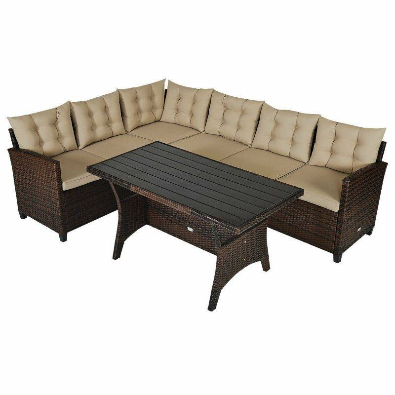 Generic Rattan Patio Dining Furniture Set With Cushions - 3 Pieces