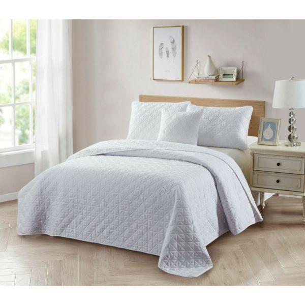 Bibb Home 4-Piece Solid Reversible Quilt Set