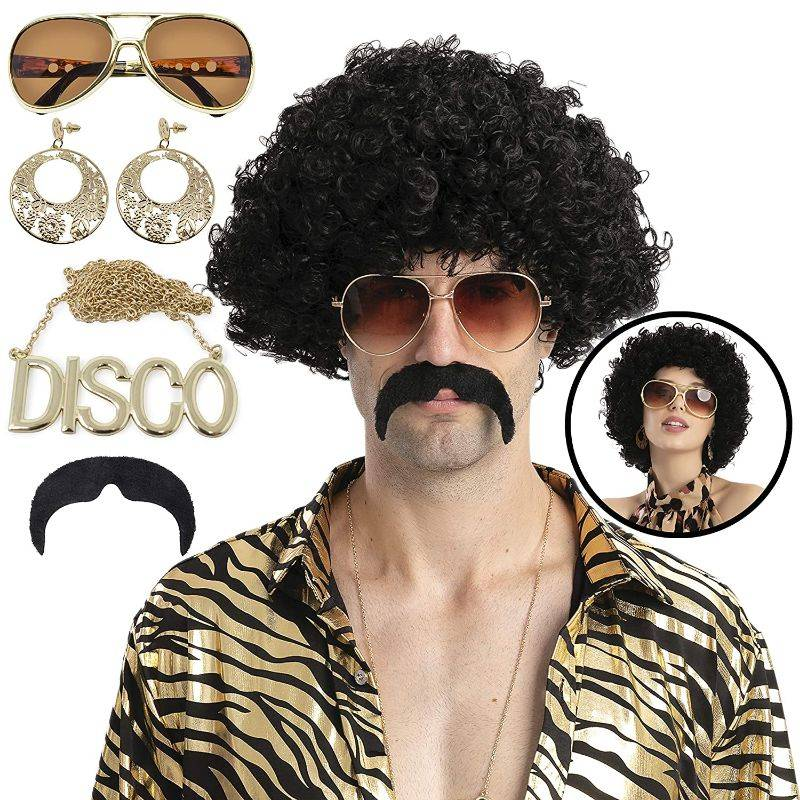 Generic Retro Disco Wig and Costume Accessories Set - Afro Wig, Mustache, Necklace, Glasses, Earrings