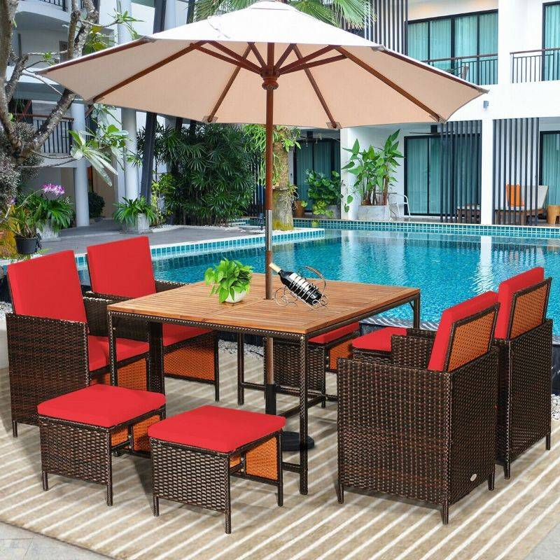 Generic Rattan Patio Dining Cushioned Chair Set - 9 Piece