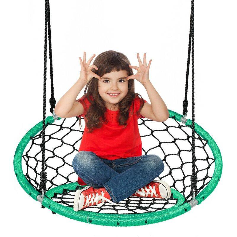 Generic Kid's Outdoor Hanging Netted Swing Chair with Adjustable Ropes